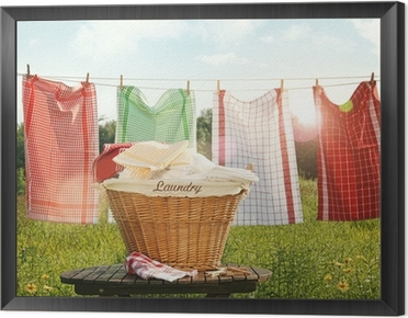 Cotton towels drying on the clothesline Framed Canvas