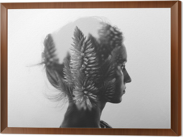 Creative double exposure with portrait of young girl and flowers, monochrome Framed Canvas