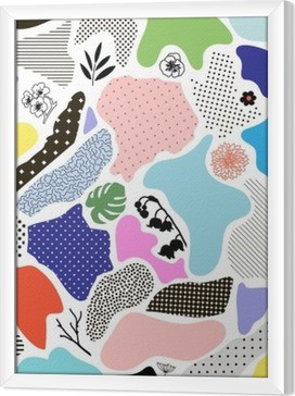Creative geometric background with floral elements and different textures. Vector Framed Canvas