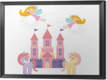 cute pink fantasy castle vector illustration design Framed Canvas