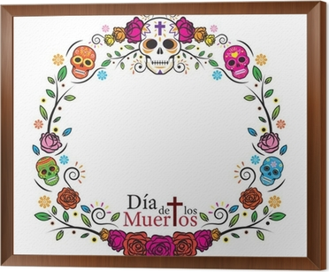 Day Of The Dead Skulls Frame With Roses Round Circle Shape Wall