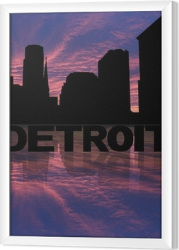 Detroit skyline reflected with text and sunset illustration Framed Canvas