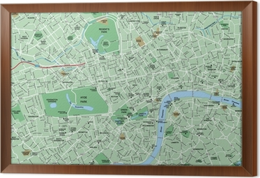 downtown london map framed canvas