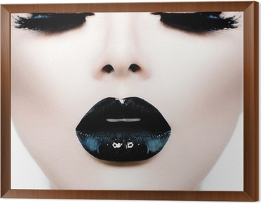 Fashion Beauty Model Girl with Black Make up and Long Lushes Framed Canvas