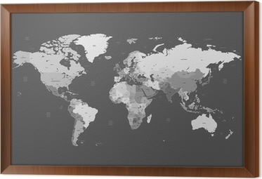 World map on metal plate wall mural pixers we live to change gray detailed world map framed canvas gumiabroncs Image collections