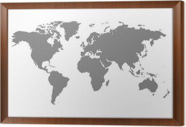 Grey blank world map wall mural pixers we live to change grey blank world map framed canvas gumiabroncs Image collections