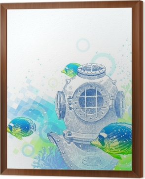 Hand drawn vintage diving helmet and tropical fishes Wall