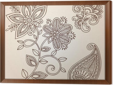 Henna Mehndi Vector : Henna mehndi flower doodles abstract floral paisley vector wall