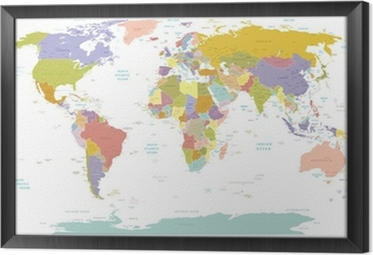 High Detail World map.Layers used. Framed Canvas