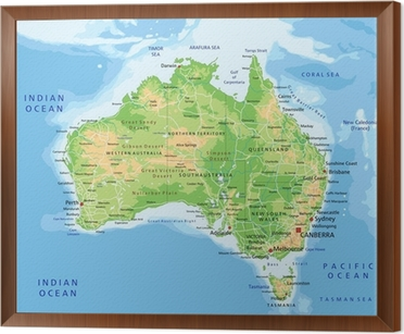 High Detailed Australia Physical Map With Labeling Wall Mural - Australia physical map