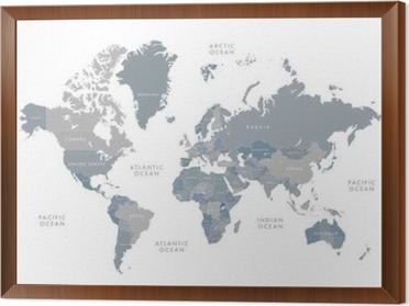 Highly detailed world map with labeling grayscale vector highly detailed world map with labeling grayscale vector illustration framed canvas gumiabroncs Image collections