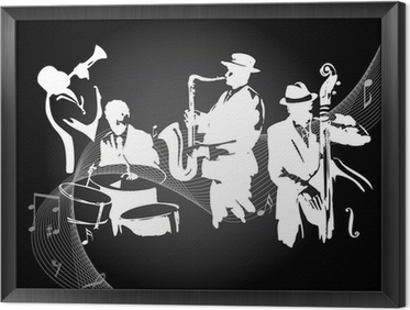 Jazz concert black background Framed Canvas