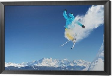 Jumping skier Framed Canvas