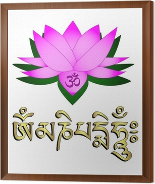 Lotus flower om symbol and mantra om mani padme hum wall mural lotus flower om symbol and mantra om mani padme hum framed canvas mightylinksfo