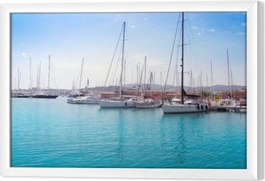 Marina port in Palma de Mallorca at Balearic Islands Framed Canvas
