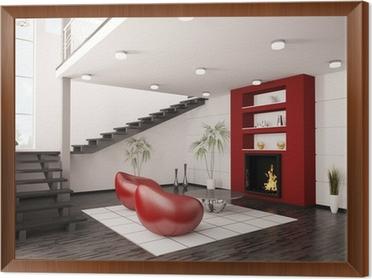 Modern Interior Wohnzimmer Mit Kamin Und Treppe 3d Render Framed Canvas