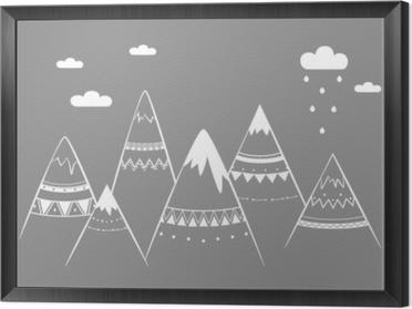 Mountain kids, hand drawn vector illustration Framed Canvas