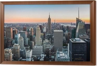 New York skyline at sunset Framed Canvas