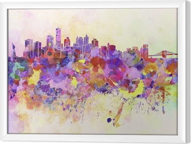 New York skyline in watercolor background Framed Canvas