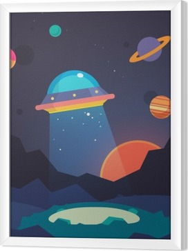 Night alien world landscape and ufo spaceship Framed Canvas