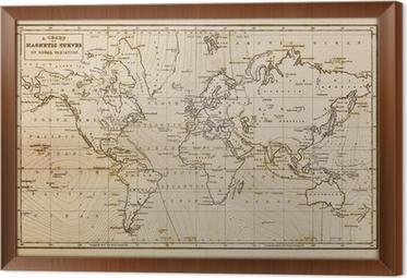 Old hand drawn vintage world map canvas print pixers we live to old hand drawn vintage world map framed canvas gumiabroncs Images