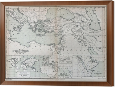 old map of countries mentioned in the bible 1870 framed canvas