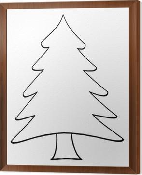 Cartoon Christmas Tree.Outline Cartoon Christmas Tree