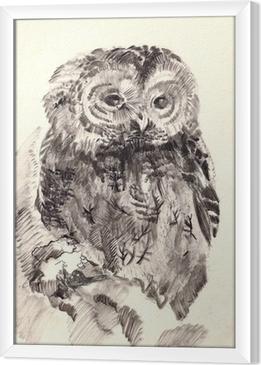 owl brush drawing sketch Framed Canvas