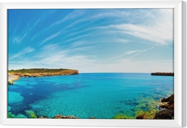 Panorama of the bay with rocky shores, Mallorca, Spain Framed Canvas