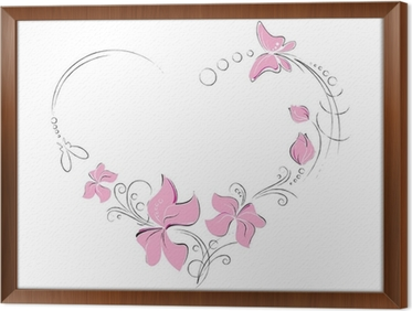 Pink Flowers Butterflies Shaped Like A Heart Wall Mural