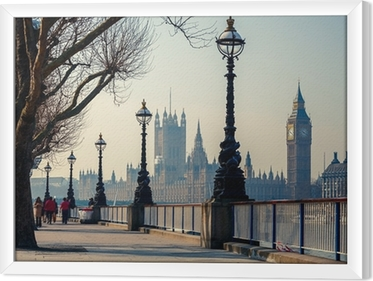 Promenade in London with a view of Big Ben and the Houses of Parliament Framed Canvas