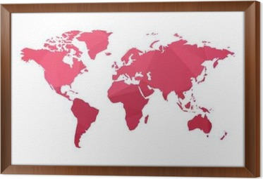 Red low poly world map vector canvas print pixers we live to change red low poly world map vector framed canvas gumiabroncs