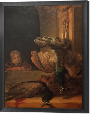 Rembrandt - Still Life with Two Peacocks and a Girl Framed Canvas