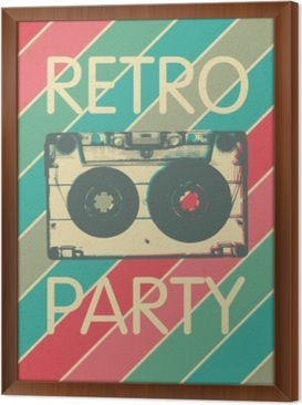 Retro music party poster design. Disco music vintage party invitation template. Framed Canvas