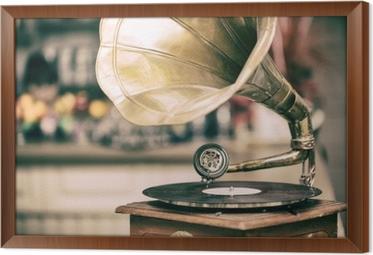 Retro old gramophone radio. Vintage style toned photo Framed Canvas