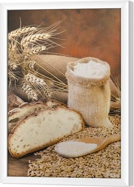 sacco di farina con pane e spighe Framed Canvas