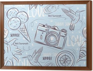 Grunge Camera Vector : Seamless patterns with summer symbols hummingbird ice cream
