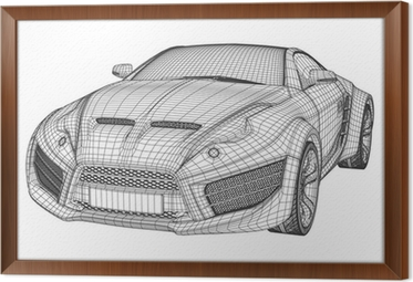Sports car blueprint non branded concept car wall mural pixers sports car blueprint non branded concept car framed canvas malvernweather Image collections