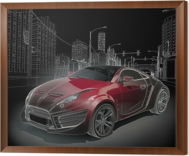 Sports car blueprint original car design canvas print pixers sports car blueprint original car design framed canvas malvernweather Gallery