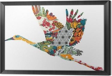 Stork in Japanese ornament Framed Canvas