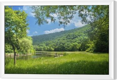 summer landscape with river and blue sky Framed Canvas