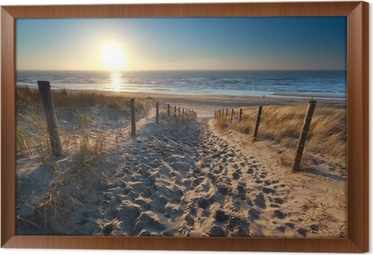 sunshine over path to beach in North sea Framed Canvas