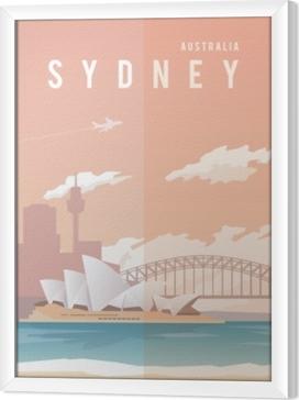 Sydney. Vector poster. Framed Canvas