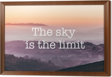 The sky is the limit, foggy mountains background Framed Canvas