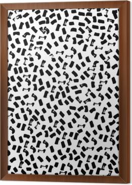Vector seamless pattern of modern brush spot. Hand drawn engraved vintage illustration. Framed Canvas