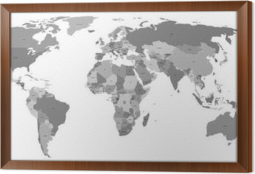 Vector world map with country labels poster pixers we live to vector world map with country labels framed canvas gumiabroncs Image collections