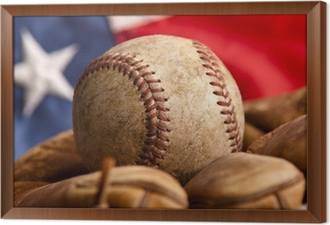 Vintage Baseball Glove And Ball With American Flag Framed Canvas