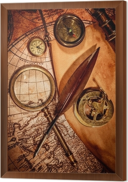 Vintage magnifying glass lies on an ancient world map wall mural vintage magnifying glass lies on an ancient world map framed canvas gumiabroncs Choice Image