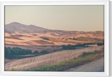 Vintage tuscan landscape Framed Canvas