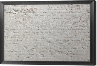White grunge brick wall background Framed Canvas